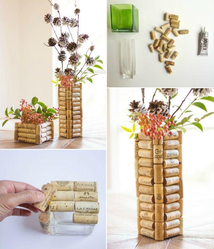 Vase de décoration en bouchons de liège