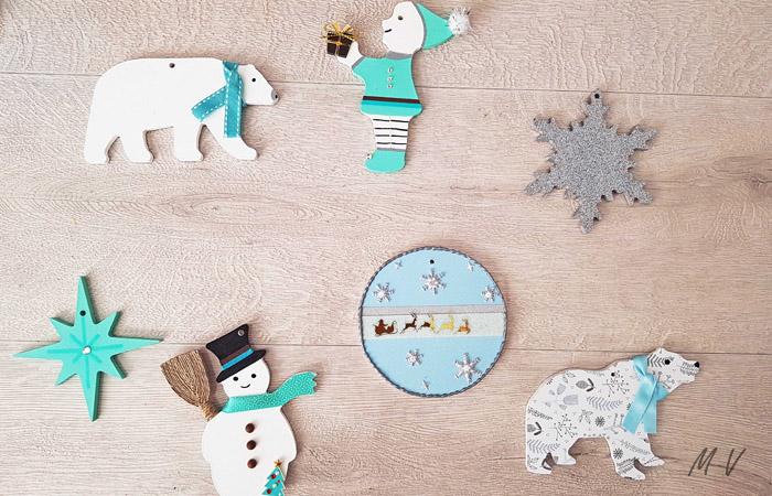 sapin de Noël polaire avec des formes en bois à décorer