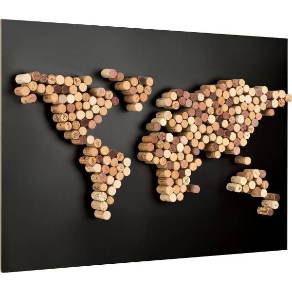 Carte du monde décorative en bouchons liège